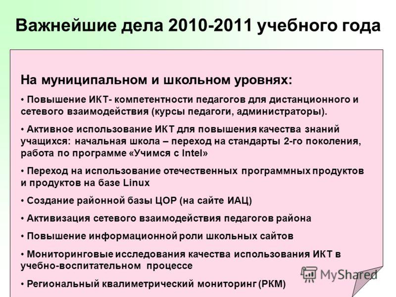 39 Важнейшие дела 2010-2011 учебного года На муниципальном и школьном уровнях: Повышение ИКТ- компетентности педагогов для дистанционного и сетевого в