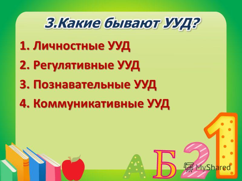 1.Личностные УУД 2.Регулятивные УУД 3.Познавательные УУД 4.Коммуникативные УУД