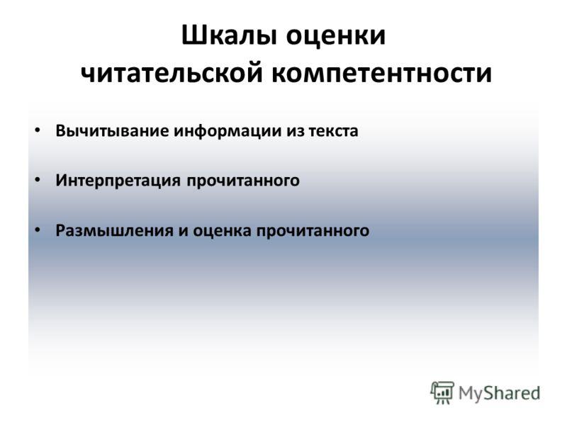 Шкалы оценки читательской компетентности Вычитывание информации из текста Интерпретация прочитанного Размышления и оценка прочитанного