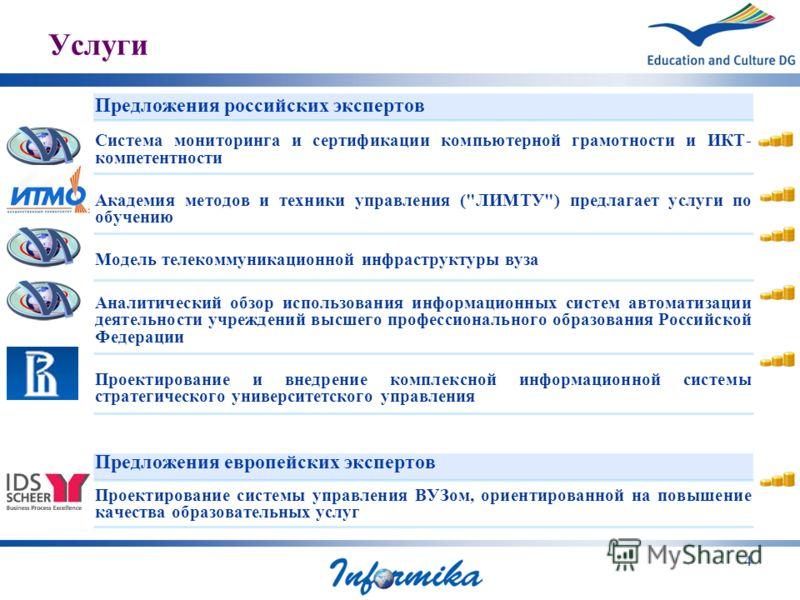 4 Услуги Предложения российских экспертов Система мониторинга и сертификации компьютерной грамотности и ИКТ- компетентности Академия методов и техники управления (