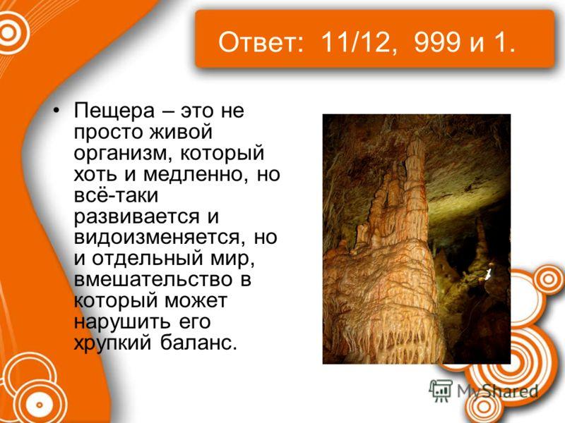 Ответ: 11/12, 999 и 1. Пещера – это не просто живой организм, который хоть и медленно, но всё-таки развивается и видоизменяется, но и отдельный мир, вмешательство в который может нарушить его хрупкий баланс.