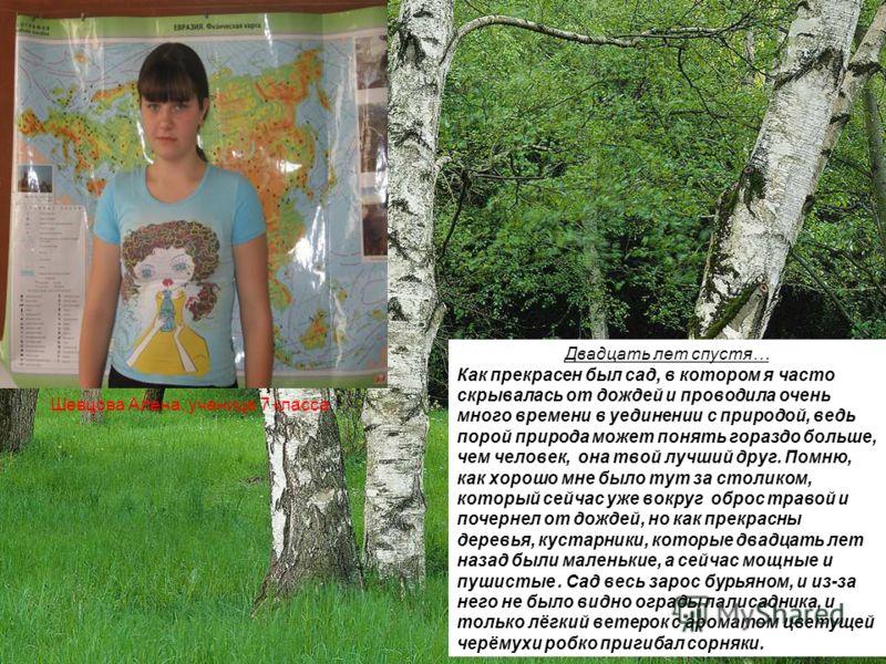 Шевцова Алена, ученица 7 класса Двадцать лет спустя… Как прекрасен был сад, в котором я часто скрывалась от дождей и проводила очень много времени в уединении с природой, ведь порой природа может понять гораздо больше, чем человек, она твой лучший др