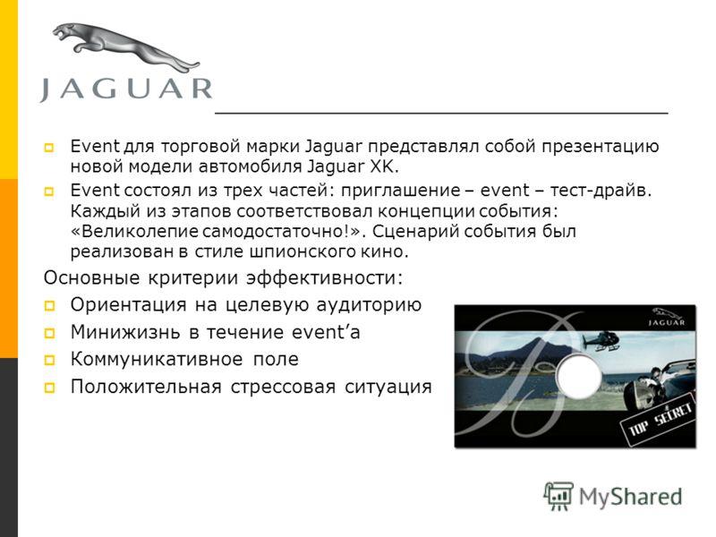 Jaguar Event для торговой марки Jaguar представлял собой презентацию новой модели автомобиля Jaguar XK. Event состоял из трех частей: приглашение – event – тест-драйв. Каждый из этапов соответствовал концепции события: «Великолепие самодостаточно!».