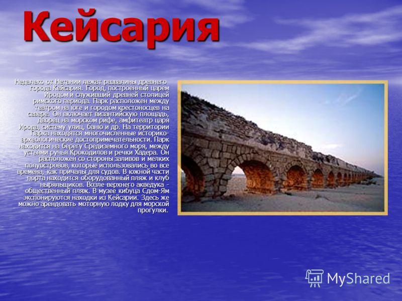 Кейсария Недалеко от Нетании лежат развалины древнего города Кейсария. Город, построенный царем Иродом и служивший древней столицей римского периода. Парк расположен между театром на юге и городом крестоносцев на севере. Он включает византийскую площ