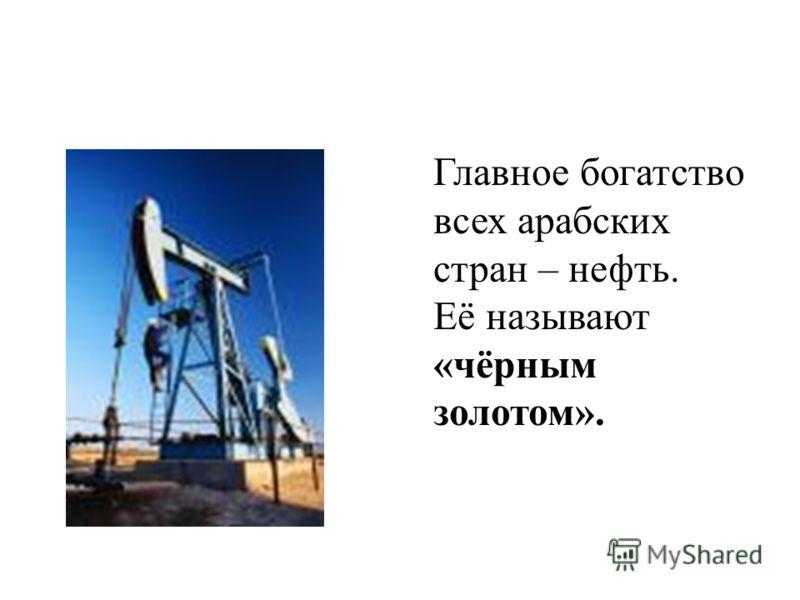 Главное богатство всех арабских стран – нефть. Её называют «чёрным золотом».