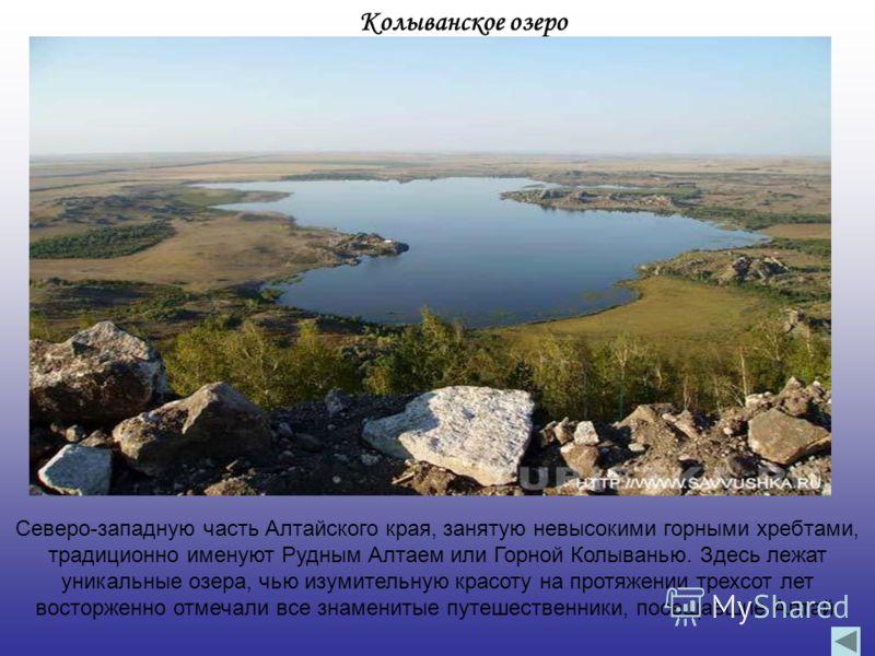 Колыванское озеро Северо-западную часть Алтайского края, занятую невысокими горными хребтами, традиционно именуют Рудным Алтаем или Горной Колыванью. Здесь лежат уникальные озера, чью изумительную красоту на протяжении трехсот лет восторженно отмечал