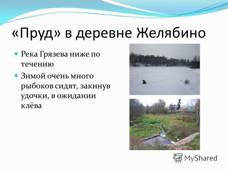 «Пруд» в деревне Желябино Река Грязева ниже по течению Зимой очень много рыбоков сидят, закинув удочки, в ожидании клёва