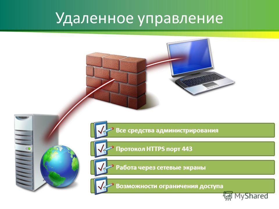 Удаленное управление Все средства администрирования Протокол HTTPS порт 443 Работа через сетевые экраны Возможности ограничения доступа