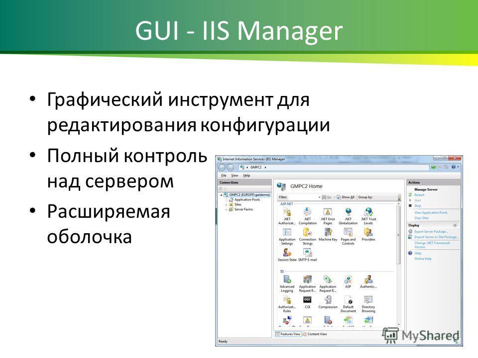 GUI - IIS Manager Графический инструмент для редактирования конфигурации Полный контроль над сервером Расширяемая оболочка