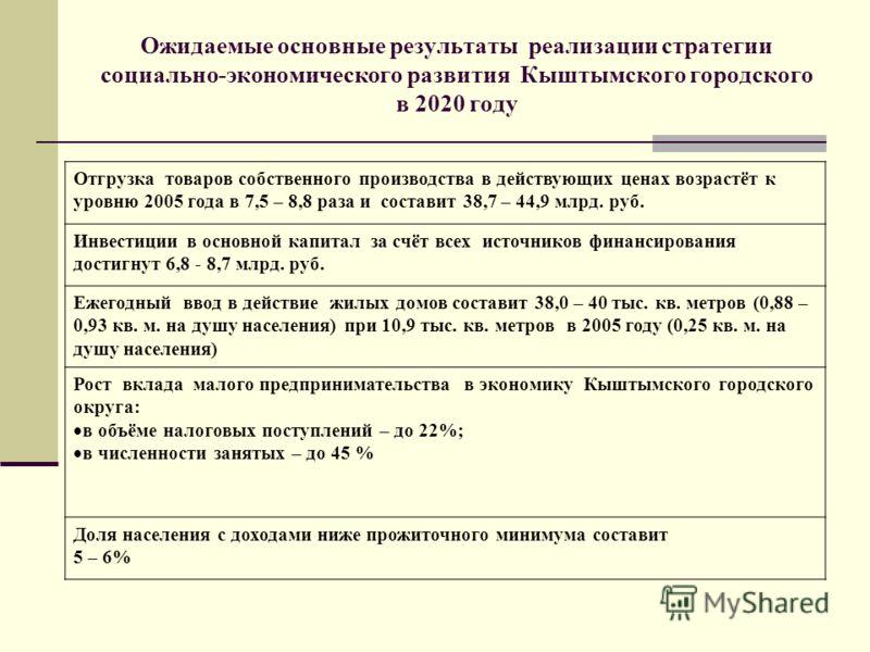 Ожидаемые основные результаты реализации стратегии социально-экономического развития Кыштымского городского в 2020 году Отгрузка товаров собственного производства в действующих ценах возрастёт к уровню 2005 года в 7,5 – 8,8 раза и составит 38,7 – 44,