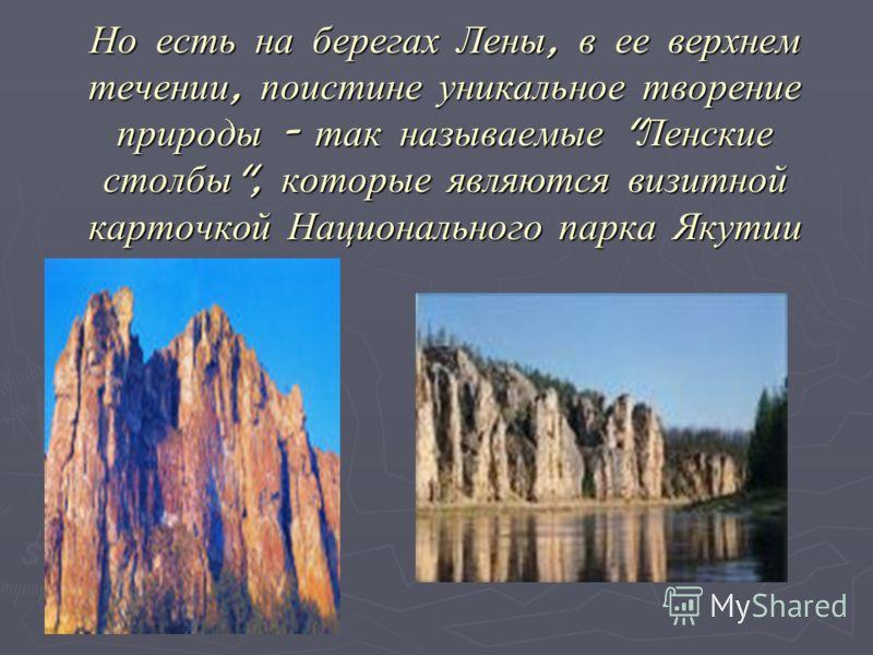 Но есть на берегах Лены, в ее верхнем течении, поистине уникальное творение природы - так называемые  Ленские столбы , которые являются визитной карточкой Национального парка Якутии