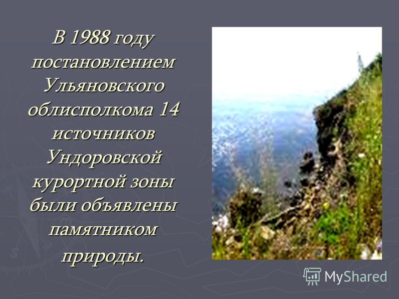 В 1988 году постановлением Ульяновского облисполкома 14 источников Ундоровской курортной зоны были объявлены памятником природы.