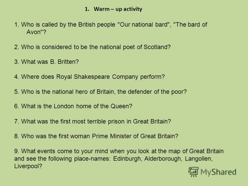 1. Who is called by the British people