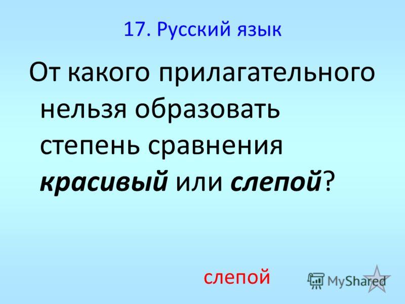 17. Русский язык От какого прилагательного нельзя образовать степень сравнения красивый или слепой? слепой