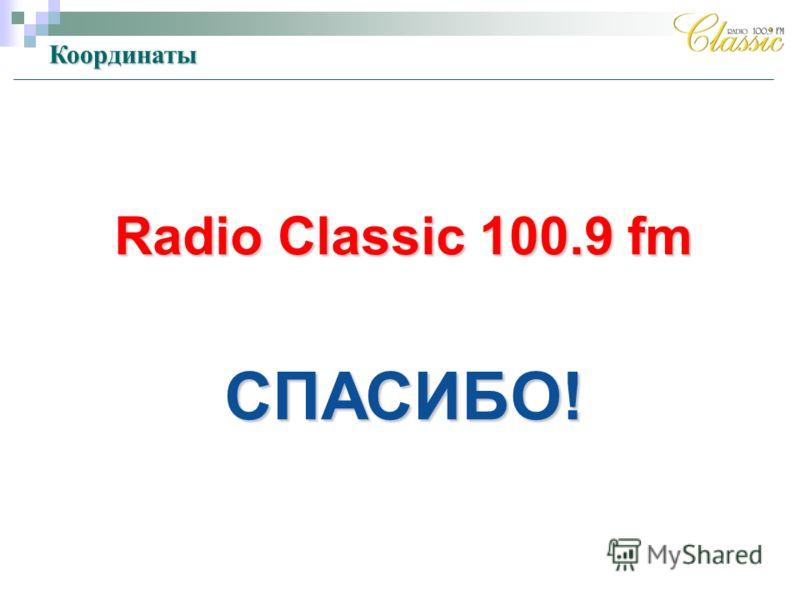 Radio Classic 100.9 fm СПАСИБО! Координаты