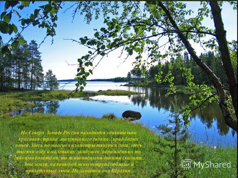 На Северо - Западе России находится удивительно красивая страна « полунощного солнца », край белых ночей. Здесь на многие километры тянутся леса, здесь тысячи озёр и маленьких ламбушек, обрамлённых то гибкими болотами, то живописными дикими скалами.