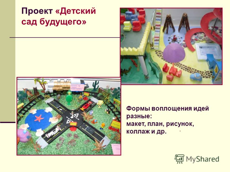 Формы воплощения идей разные: макет, план, рисунок, коллаж и др. Проект «Детский сад будущего»