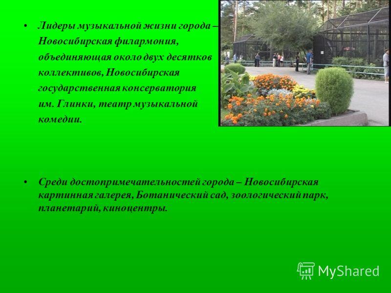 Лидеры музыкальной жизни города – Новосибирская филармония, объединяющая около двух десятков коллективов, Новосибирская государственная консерватория им. Глинки, театр музыкальной комедии. Среди достопримечательностей города – Новосибирская картинная