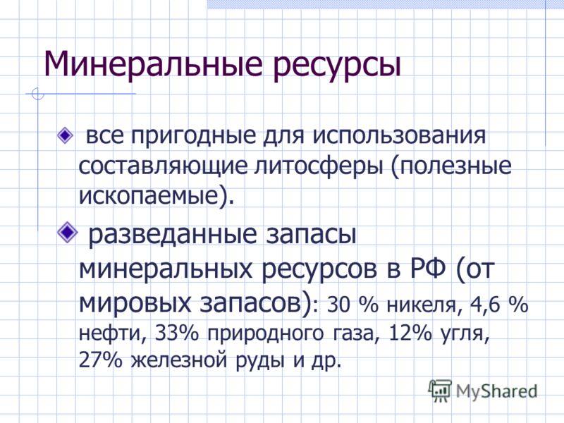 Минеральные ресурсы все пригодные для использования составляющие литосферы (полезные ископаемые). разведанные запасы минеральных ресурсов в РФ (от мировых запасов) : 30 % никеля, 4,6 % нефти, 33% природного газа, 12% угля, 27% железной руды и др.