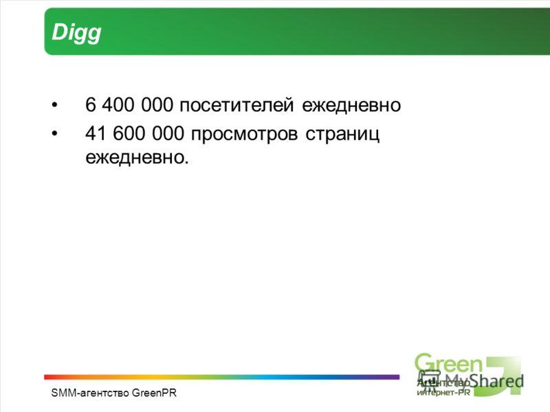 SMM-агентство GreenPR Digg 6 400 000 посетителей ежедневно 41 600 000 просмотров страниц ежедневно.