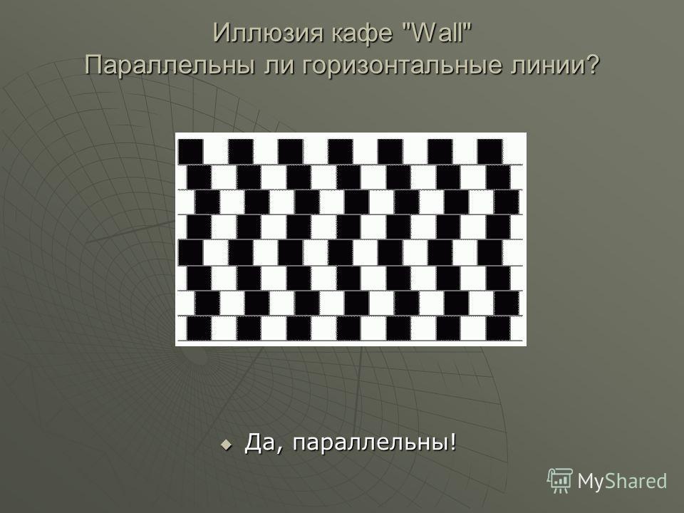 Да, параллельны! Да, параллельны! Иллюзия кафе Wall Параллельны ли горизонтальные линии?