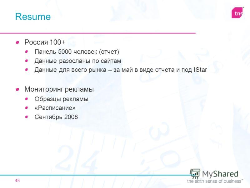 48 Resume Россия 100+ Панель 5000 человек (отчет) Данные разосланы по сайтам Данные для всего рынка – за май в виде отчета и под IStar Мониторинг рекламы Образцы рекламы «Расписание» Сентябрь 2008
