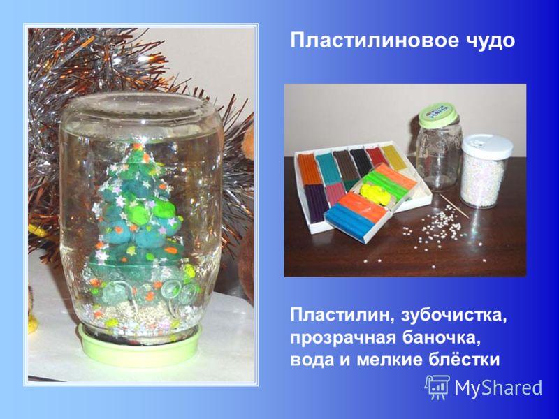 Пластилиновое чудо Пластилин, зубочистка, прозрачная баночка, вода и мелкие блёстки