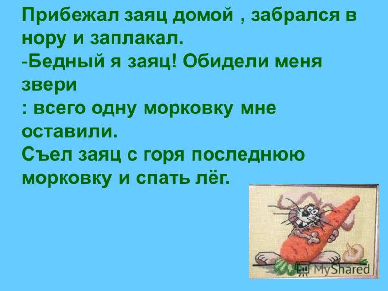 Прибежал заяц домой, забрался в нору и заплакал. -Бедный я заяц! Обидели меня звери : всего одну морковку мне оставили. Съел заяц с горя последнюю морковку и спать лёг.