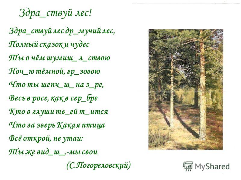 Здра_ствуй лес! Здра_ствуй лес др_мучий лес, Полный сказок и чудес Ты о чём шумиш_ л_ствою Ноч_ю тёмной, гр_зовою Что ты шепч_ш_ на з_ре, Весь в росе, как в сер_бре Кто в глуши тв_ей т_ится Что за зверь Какая птица Всё открой, не утаи: Ты же вид_ш_,-