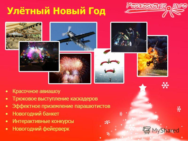Красочное авиашоу Трюковое выступление каскадеров Эффектное приземление парашютистов Новогодний банкет Интерактивные конкурсы Новогодний фейерверк Улётный Новый Год