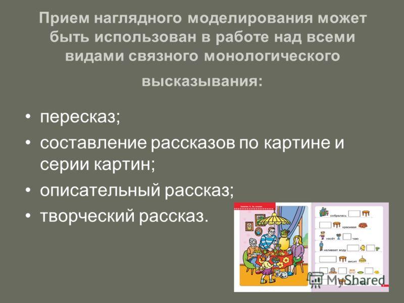 Прием наглядного моделирования может быть использован в работе над всеми видами связного монологического высказывания: пересказ; составление рассказов по картине и серии картин; описательный рассказ; творческий рассказ.