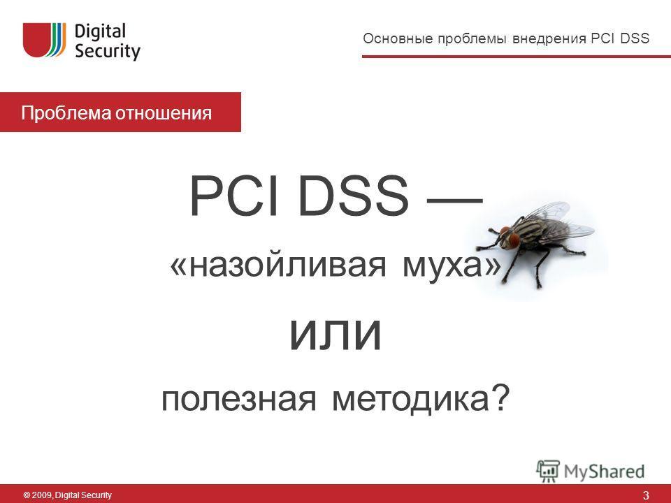 3 Основные проблемы внедрения PCI DSS © 2009, Digital Security Проблема отношения PCI DSS «назойливая муха» или полезная методика?