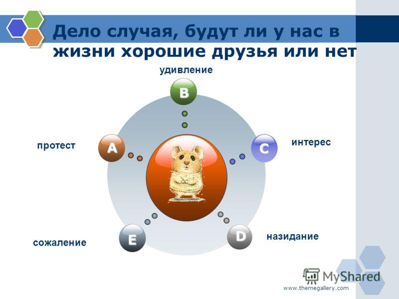 www.themegallery.com Дело случая, будут ли у нас в жизни хорошие друзья или нет B E C D A удивление протест интерес назидание сожаление