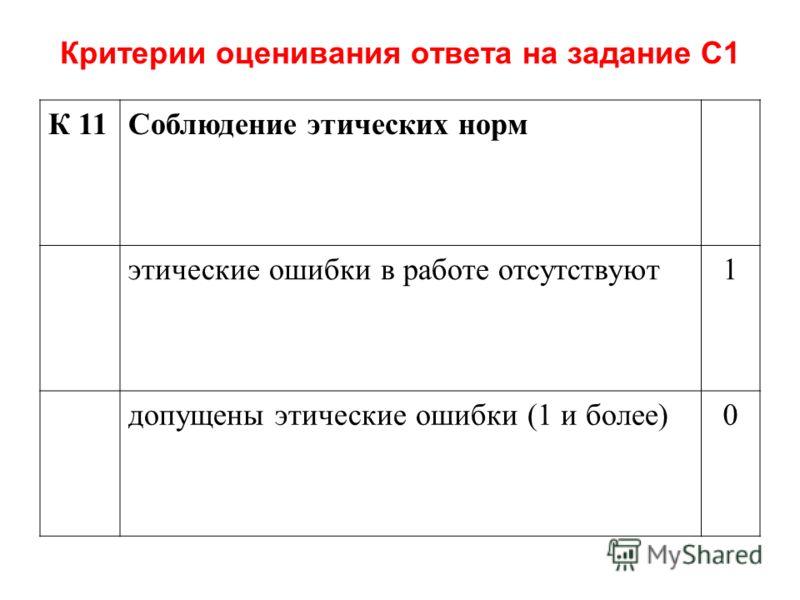 Критерии оценивания ответа на задание С1 К 11Соблюдение этических норм этические ошибки в работе отсутствуют1 допущены этические ошибки (1 и более)0