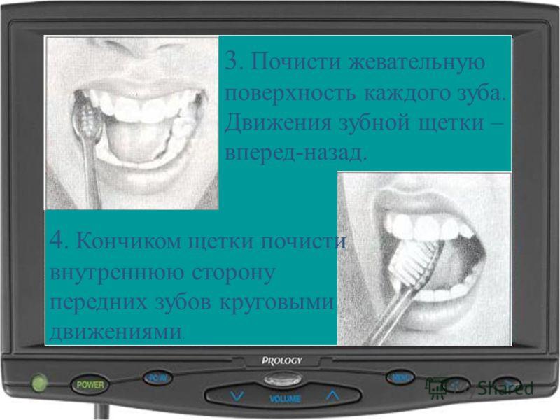 3. Почисти жевательную поверхность каждого зуба. Движения зубной щетки – вперед-назад. 4. Кончиком щетки почисти внутреннюю сторону передних зубов круговыми движениями.