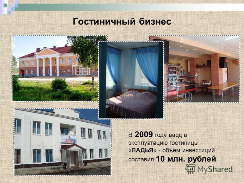 Гостиничный бизнес В 2009 году ввод в эксплуатацию гостиницы «ЛАДЬЯ» - объем инвестиций составил 10 млн. рублей