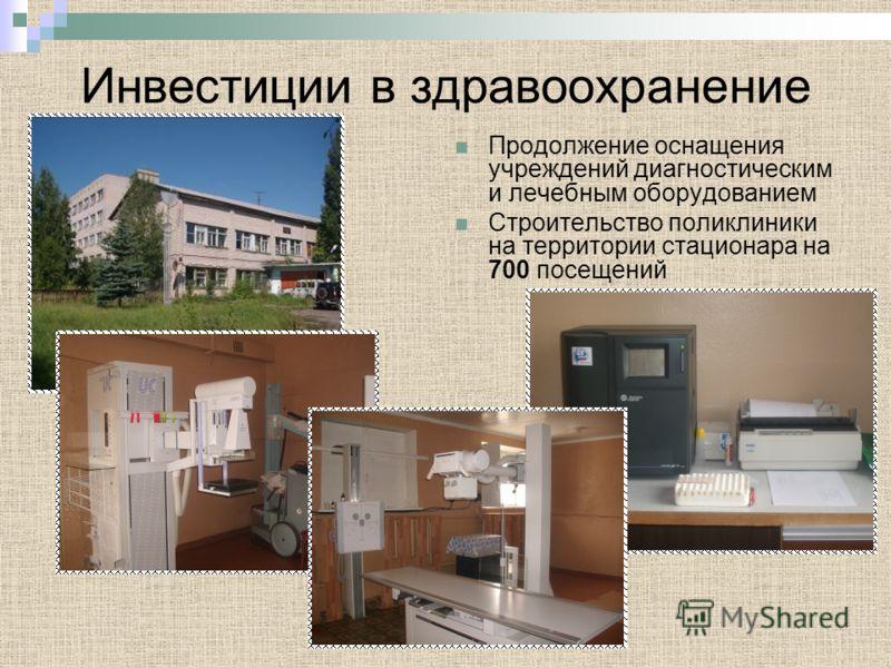 Инвестиции в здравоохранение Продолжение оснащения учреждений диагностическим и лечебным оборудованием Строительство поликлиники на территории стационара на 700 посещений