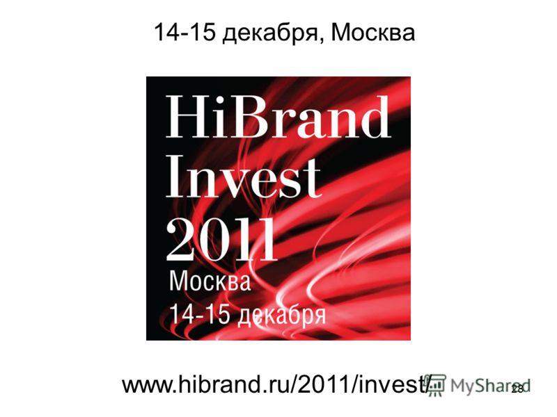 28 14-15 декабря, Москва www.hibrand.ru/2011/invest/