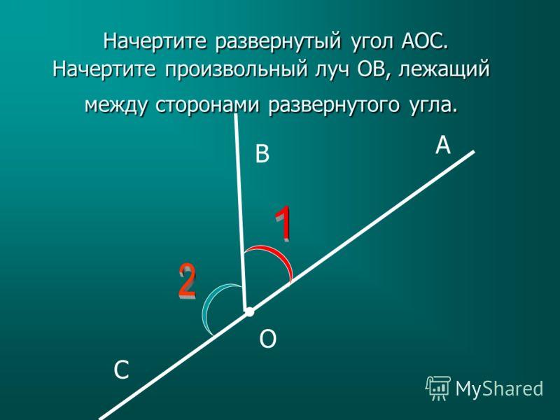 A B C O Начертите развернутый угол АОС. Начертите произвольный луч ОB, лежащий между сторонами развернутого угла. Начертите развернутый угол АОС. Начертите произвольный луч ОB, лежащий между сторонами развернутого угла.