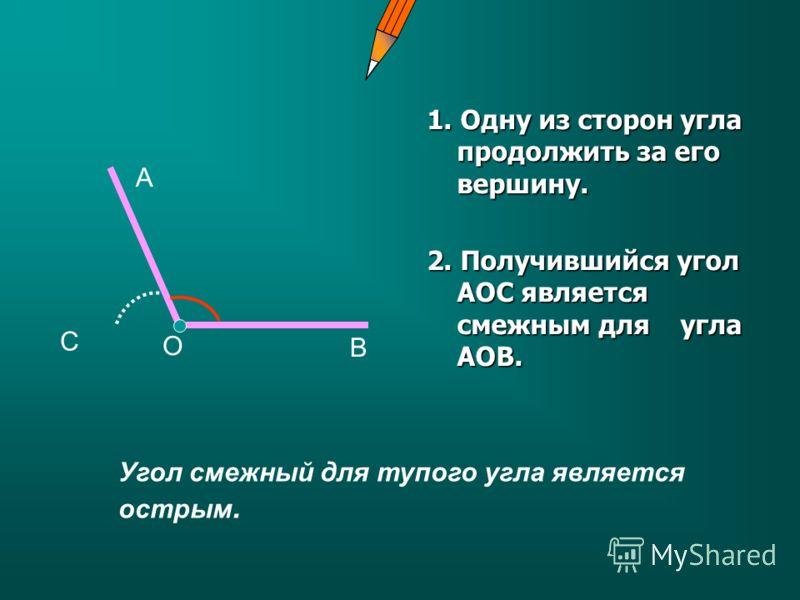 1. Одну из сторон угла продолжить за его вершину. 2. Получившийся угол АОС является смежным для угла АОВ. А В С О Угол смежный для тупого угла является острым.