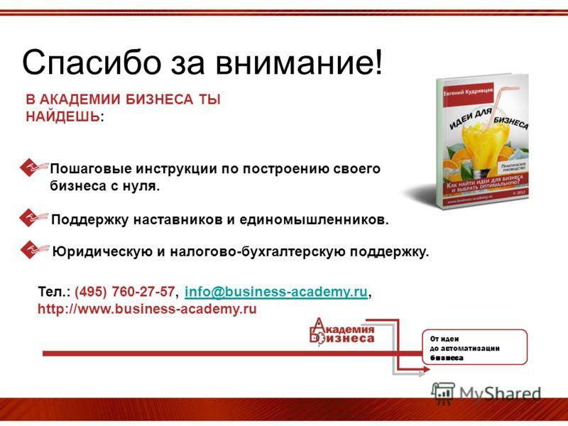 Спасибо за внимание! Тел.: (495) 760-27-57, info@business-academy.ru, http://www.business-academy.ruinfo@business-academy.ru От идеи до автоматизации бизнеса В АКАДЕМИИ БИЗНЕСА ТЫ НАЙДЕШЬ: Пошаговые инструкции по построению своего бизнеса с нуля. Под