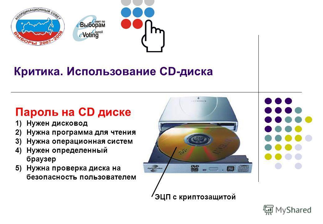 Критика. Использование CD-диска Пароль на СD диске 1)Нужен дисковод 2)Нужна программа для чтения 3)Нужна операционная систем 4)Нужен определенный браузер 5)Нужна проверка диска на безопасность пользователем ЭЦП с криптозащитой