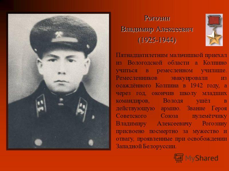 Пятнадцатилетним мальчишкой приехал из Вологодской области а Колпино учиться в ремесленном училище. Ремесленников эвакуировали из осаждённого Колпина в 1942 году, а через год, окончив школу младших командиров, Володя ушёл в действующую армию. Звание