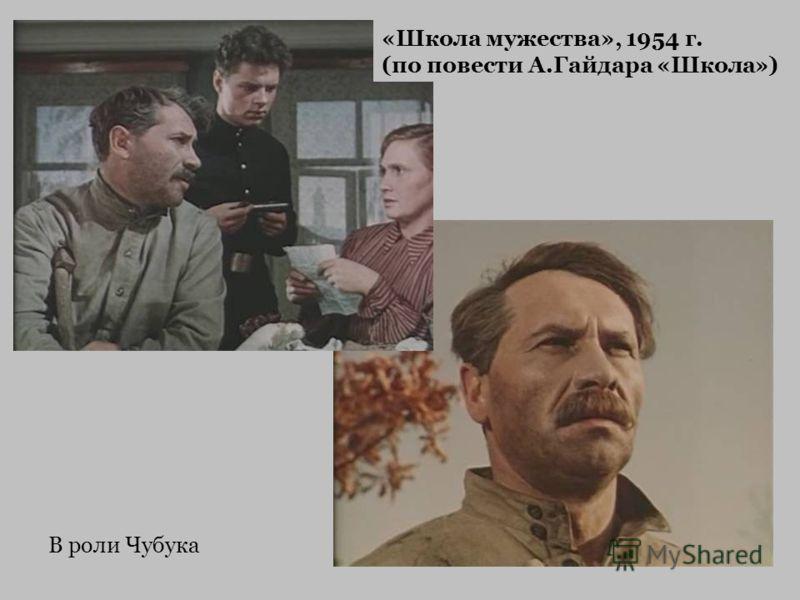 В роли Чубука «Школа мужества», 1954 г. (по повести А.Гайдара «Школа»)