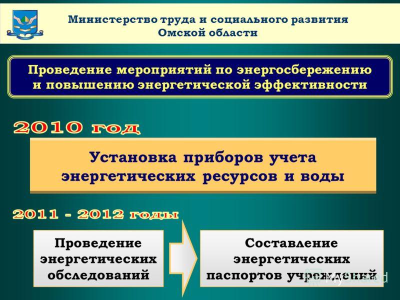 LOGO www.themegallery.comCompany Name Министерство труда и социального развития Омской области Проведение мероприятий по энергосбережению и повышению энергетической эффективности Установка приборов учета энергетических ресурсов и воды Проведение энер