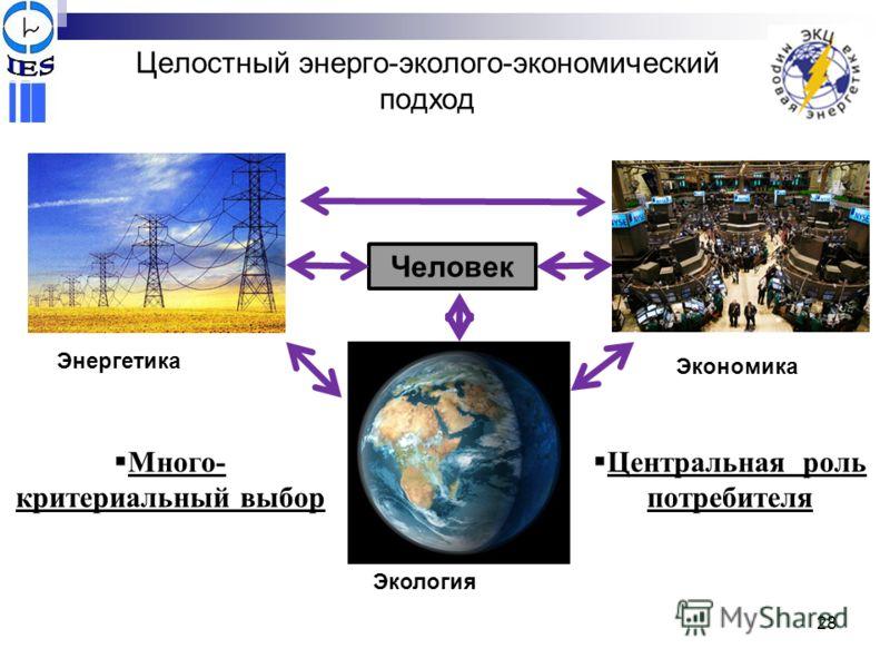 Целостный энерго-эколого-экономический подход Центральная роль потребителя Энергетика Экономика Человек Экология Много- критериальный выбор 28