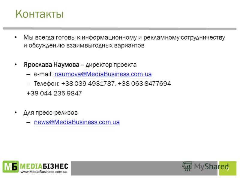 Контакты Мы всегда готовы к информационному и рекламному сотрудничеству и обсуждению взаимвыгодных вариантов Ярослава Наумова – директор проекта – e-mail: naumova@MediaBusiness.com.uanaumova@MediaBusiness.com.ua – Телефон: +38 039 4931787, +38 063 84