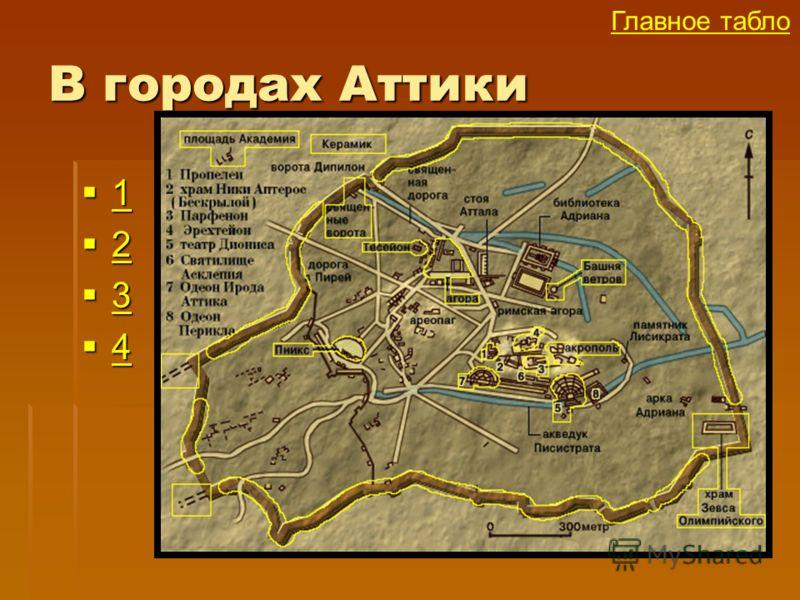 В городах Аттики 1 1 2 2 3 3 4 4 Главное табло