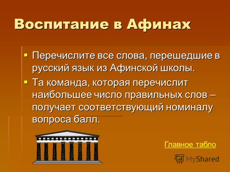 Воспитание в Афинах Перечислите все слова, перешедшие в русский язык из Афинской школы. Перечислите все слова, перешедшие в русский язык из Афинской школы. Та команда, которая перечислит наибольшее число правильных слов – получает соответствующий ном