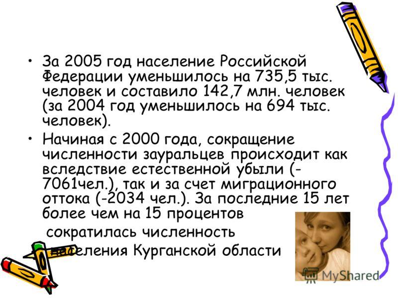 За 2005 год население Российской Федерации уменьшилось на 735,5 тыс. человек и составило 142,7 млн. человек (за 2004 год уменьшилось на 694 тыс. человек). Начиная с 2000 года, сокращение численности зауральцев происходит как вследствие естественной у